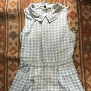 Paper Crane Gingham Dress with Collar